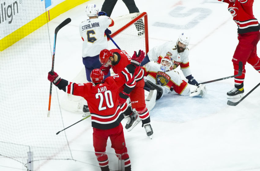 Apr 6, 2021; Raleigh, North Carolina, USA; Carolina Hurricanes center Vincent Trocheck (16) scores a second period goal against Florida Panthers goaltender Sergei Bobrovsky (72) at PNC Arena. Mandatory Credit: James Guillory-USA TODAY Sports