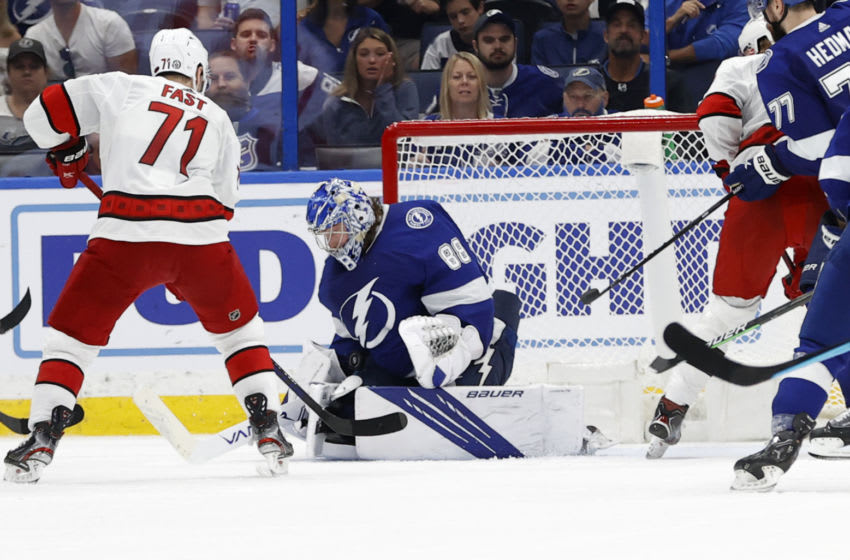 Jun 5, 2021; Tampa, Florida, USA; Tampa Bay Lightning goaltender Andrei Vasilevskiy (88) makes a save against the Carolina Hurricanes during the third period in game four of the second round of the 2021 Stanley Cup Playoffs at Amalie Arena. Mandatory Credit: Kim Klement-USA TODAY Sports