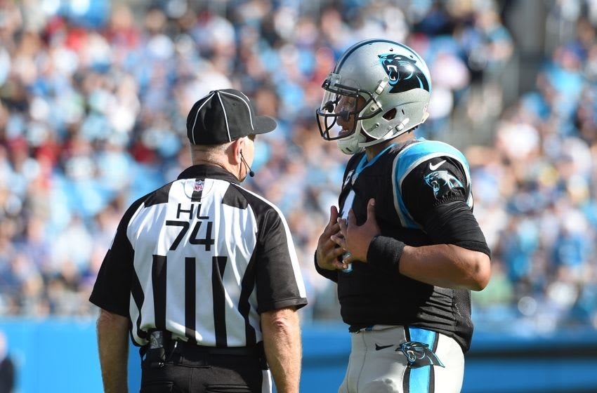 Oct 30, 2016; Charlotte, NC, USA; Carolina Panthers quarterback Cam Newton (1) talks to the official in the third quarter at Bank of America Stadium. Mandatory Credit: Bob Donnan-USA TODAY Sports