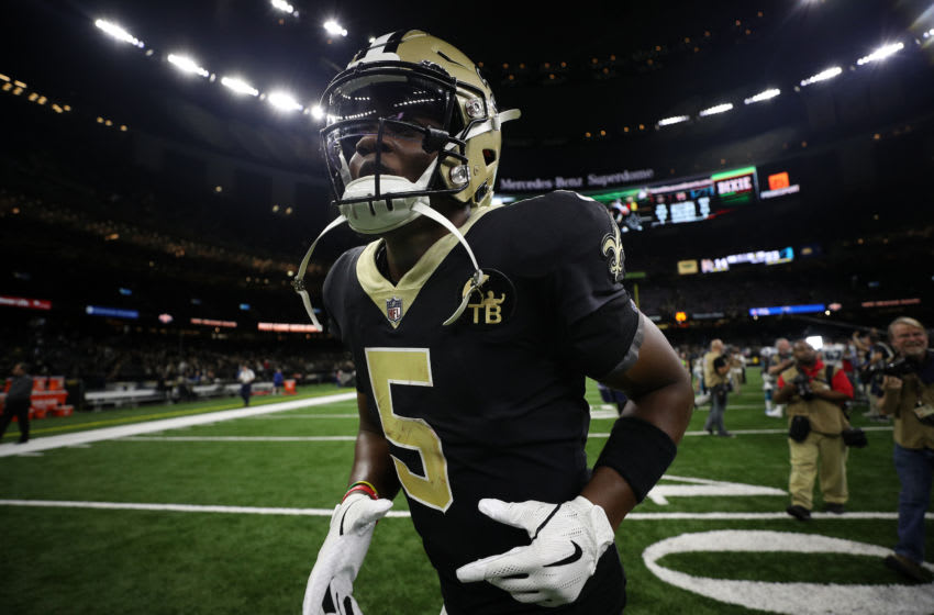 NEW ORLEANS, LOUISIANA - DECEMBER 30: Teddy Bridgewater #5 of the New Orleans Saints walks off the field after defeating the Carolina Panthers during the first half at the Mercedes-Benz Superdome on December 30, 2018 in New Orleans, Louisiana. (Photo by Chris Graythen/Getty Images)