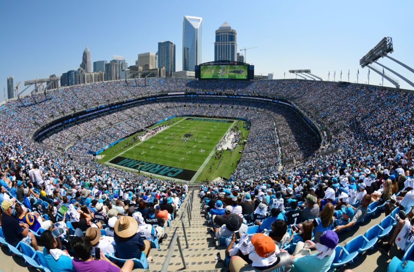 CHARLOTTE, NORTH CAROLINA - SEPTEMBER 08: A general view of game action between the Carolina Panthers and the Los Angeles Rams during their game at Bank of America Stadium on September 08, 2019 in Charlotte, North Carolina. (Photo by Jacob Kupferman/Getty Images)