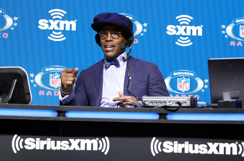 MIAMI, FLORIDA - JANUARY 31: NFL quarterback Cam Newton of the Carolina Panthers speaks onstage during day 3 of SiriusXM at Super Bowl LIV on January 31, 2020 in Miami, Florida. (Photo by Cindy Ord/Getty Images for SiriusXM )