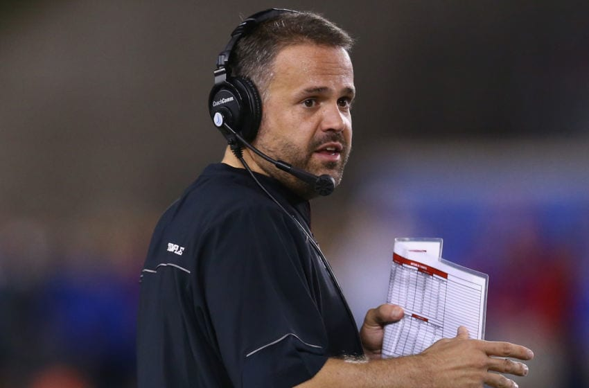 DALLAS, TX - NOVEMBER 06: Head coach Matt Rhule of the Temple Owls during play against the Southern Methodist Mustangs in the first half at Gerald J. Ford Stadium on November 6, 2015 in Dallas, Texas. (Photo by Ronald Martinez/Getty Images)