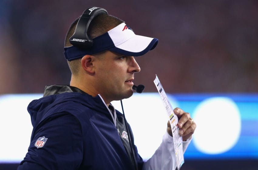 FOXBORO, MA - SEPTEMBER 22: New England Patriots offensive coordinator Josh McDaniels looks on during the game against the Houston Texans at Gillette Stadium on September 22, 2016 in Foxboro, Massachusetts. (Photo by Maddie Meyer/Getty Images)