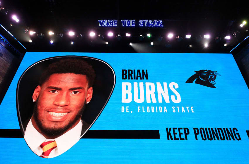 NASHVILLE, TENNESSEE - APRIL 25: A video board displays an image of Brian Burns of Florida State after he was chosen #16 overall by the Carolina Panthers during the first round of the 2019 NFL Draft on April 25, 2019 in Nashville, Tennessee. (Photo by Andy Lyons/Getty Images)