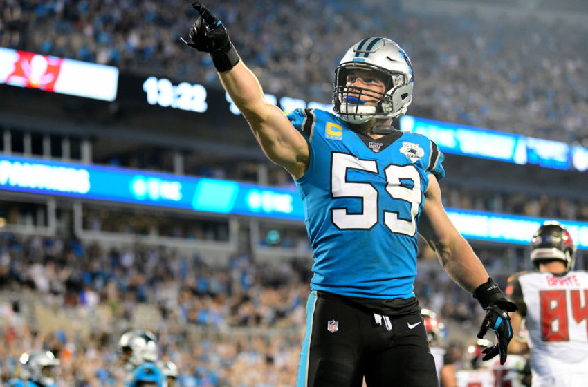 CHARLOTTE, NORTH CAROLINA - SEPTEMBER 12: Luke Kuechly #59 of the Carolina Panthers after a safety in the fourth quarter during their game at Bank of America Stadium on September 12, 2019 in Charlotte, North Carolina. (Photo by Jacob Kupferman/Getty Images)