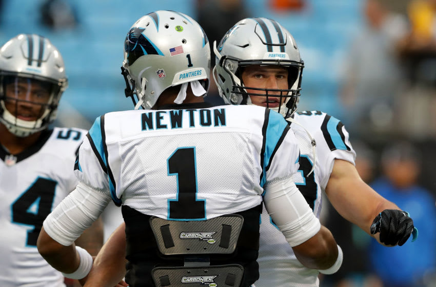 (Photo by Streeter Lecka/Getty Images) Cam Newton and Luke Kuechly