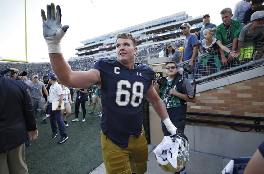 SOUTH BEND, IN - SEPTEMBER 02: Mike McGlinchey #68 of the Notre Dame Fighting Irish celebrates as he leaves the field following a game against the Temple Owls at Notre Dame Stadium on September 2, 2017 in South Bend, Indiana. The Irish won 49-16. (Photo by Joe Robbins/Getty Images)