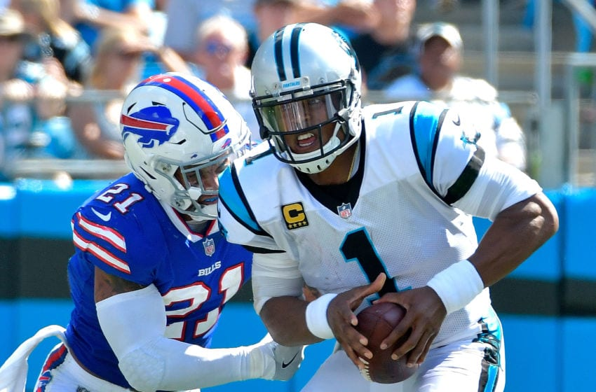 CHARLOTTE, NC - SEPTEMBER 17: Jordan Poyer #21 of the Buffalo Bills sacks Cam Newton #1 of the Carolina Panthers during their game at Bank of America Stadium on September 17, 2017 in Charlotte, North Carolina. (Photo by Grant Halverson/Getty Images)
