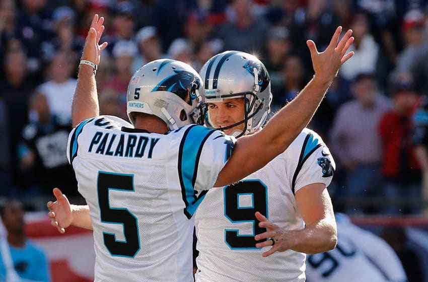 FOXBORO, MA - OCTOBER 01: Graham Gano #9 of the Carolina Panthers celebrates with Michael Palardy #5 after kicking a 48-yard field goal during the fourth quarter to defeat the New England Patriots 33-30 at Gillette Stadium on October 1, 2017 in Foxboro, Massachusetts. (Photo by Jim Rogash/Getty Images)