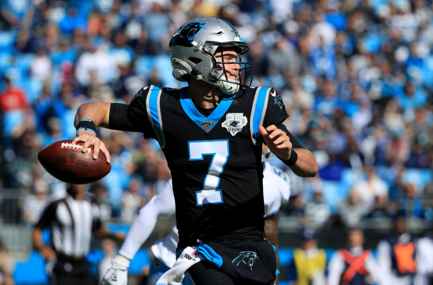 CHARLOTTE, NORTH CAROLINA - NOVEMBER 03: Kyle Allen #7 of the Carolina Panthers during their game at Bank of America Stadium on November 03, 2019 in Charlotte, North Carolina. (Photo by Streeter Lecka/Getty Images)