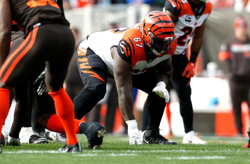 CLEVELAND, OH - DECEMBER 8: John Miller #67 of the Cincinnati Bengals lines up for a play during the game against the Cleveland Browns at FirstEnergy Stadium on December 8, 2019 in Cleveland, Ohio. (Photo by Kirk Irwin/Getty Images)