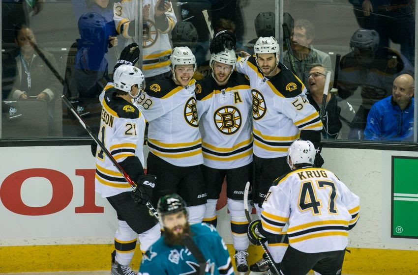 Mar 15, 2016; San Jose, CA, USA; Boston Bruins center David Krejci (46) celebrates scoring against the San Jose Sharks in the first period at SAP Center at San Jose. Mandatory Credit: John Hefti-USA TODAY Sports.