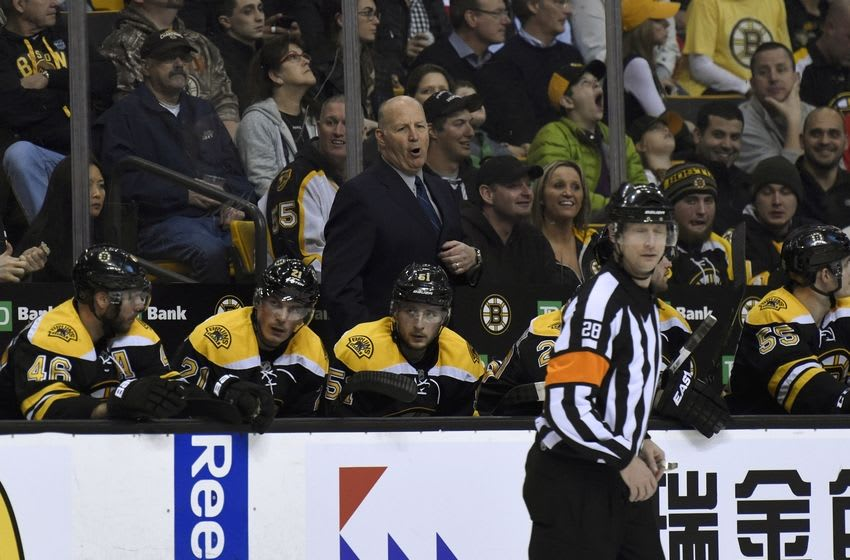 Apr 7, 2016; Boston, MA, USA; Boston Bruins head coach Claude Julien shouts at the referee during the second period against the Detroit Red Wings at TD Garden. Mandatory Credit: Bob DeChiara-USA TODAY Sports