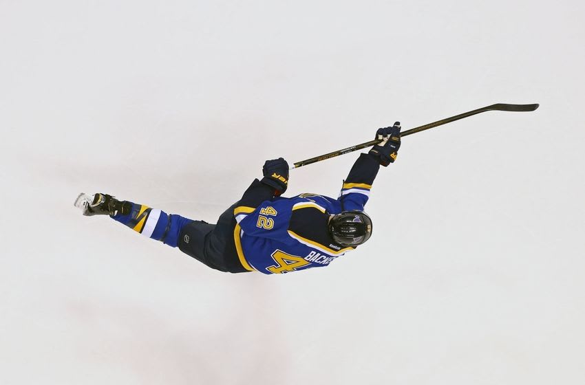 May 17, 2016; St. Louis, MO, USA; St. Louis Blues center David Backes (42) against the San Jose Sharks in game two of the Western Conference Final of the 2016 Stanley Cup Playoff at Scottrade Center. The Sharks won 4-0. Mandatory Credit: Aaron Doster-USA TODAY Sports