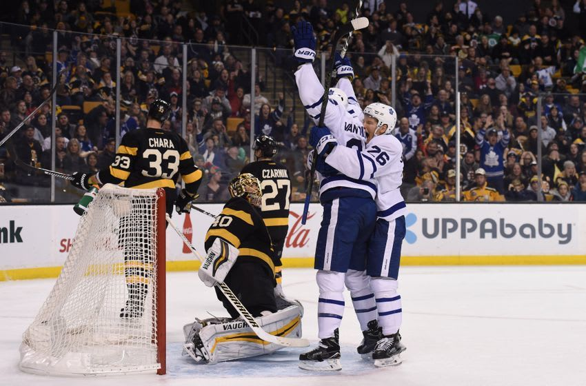 Dec 10, 2016; Boston, MA, USA; Toronto Maple Leafs right wing Nikita Soshnikov (26) celebrates with left wing James van Riemsdyk (25) after scoring a goal during the third period against the Boston Bruins at TD Garden. Mandatory Credit: Bob DeChiara-USA TODAY Sports