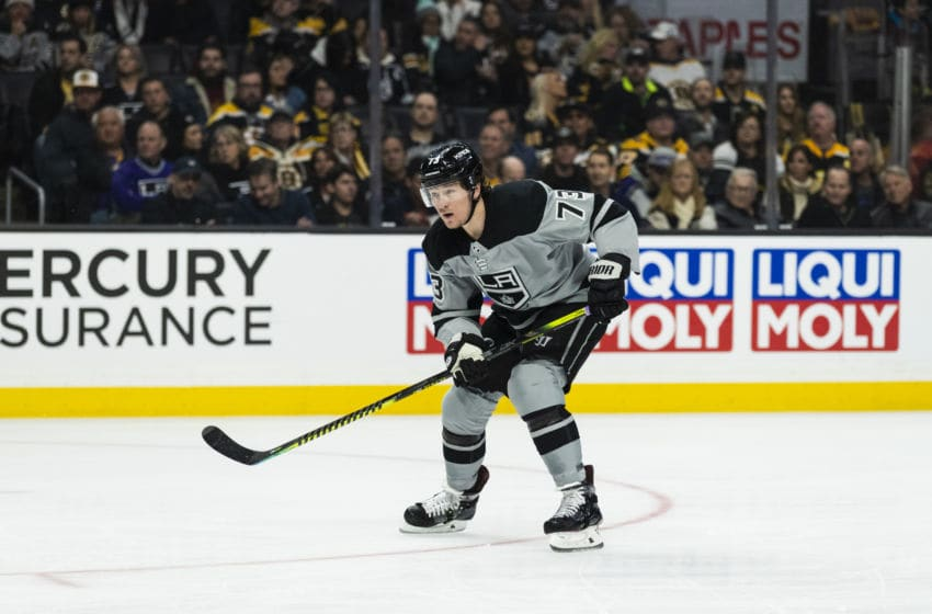LOS ANGELES, CA - FEBRUARY 16: Los Angeles Kings right wing Tyler Toffoli (73) during the NHL regular season game against the Boston Bruins on Saturday, Feb. 16, 2019 at the Staples Center in Los Angeles, Calif. (Photo by Ric Tapia/Icon Sportswire via Getty Images)