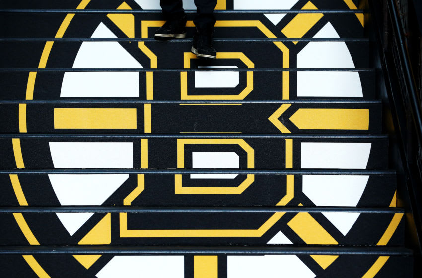 BOSTON, MASSACHUSETTS - MAY 09: A detail of the Boston Bruins logo prior to Game One of the Eastern Conference Final during the 2019 NHL Stanley Cup Playoffs at TD Garden on May 09, 2019 in Boston, Massachusetts. (Photo by Adam Glanzman/Getty Images)