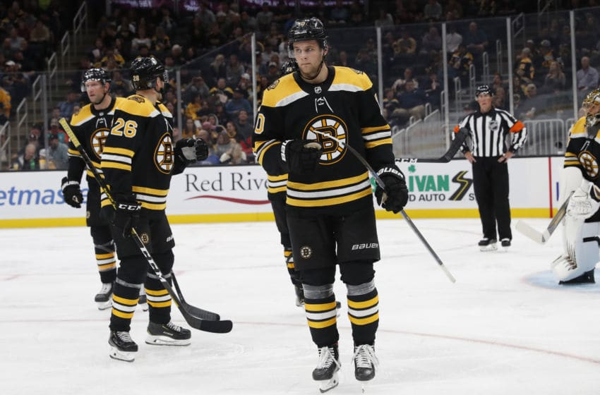 BOSTON, MA - SEPTEMBER 25: Boston Bruins right wing Anders Bjork (10) skates out for a face off during a preseason game between the Boston Bruins and the New Jersey Devils on September 25, 2019, at TD Garden in Boston, Massachusetts. (Photo by Fred Kfoury III/Icon Sportswire via Getty Images)