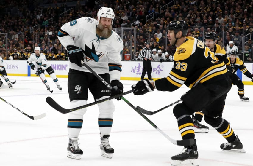 BOSTON, MA - OCTOBER 29: Boston Bruins left defenseman Zdeno Chara (33) defends on San Jose Sharks center Joe Thornton (19) during a game between the Boston Bruins and the San Jose Sharks on October 29, 2019, at TD Garden in Boston, Massachusetts. (Photo by Fred Kfoury III/Icon Sportswire via Getty Images)