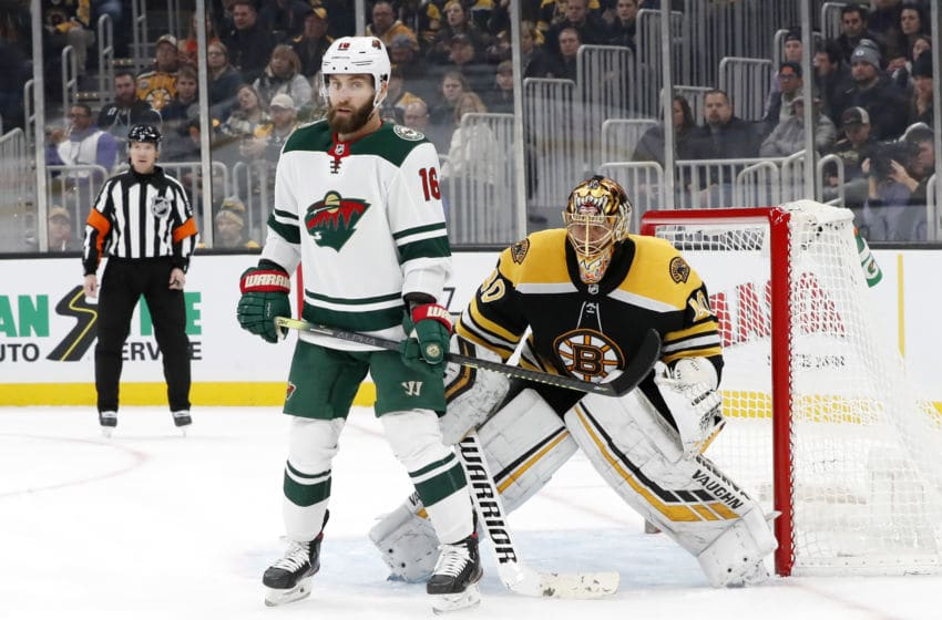 BOSTON, MA - NOVEMBER 23: Minnesota Wild left wing Jason Zucker (16) screens Boston Bruins goalie Tuukka Rask (40) on the power play during a game between the Boston Bruins and the Minnesota Wild on November 23, 2019, at TD Garden in Boston, Massachusetts. (Photo by Fred Kfoury III/Icon Sportswire via Getty Images)