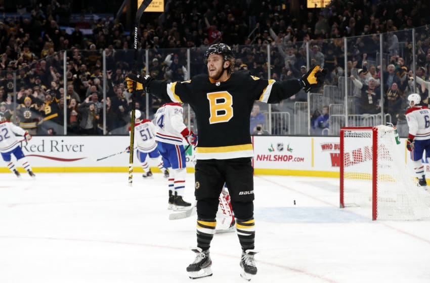 BOSTON, MA - DECEMBER 01: Boston Bruins right wing David Pastrnak (88) celebrates his 25th goal of the season during a game between the Boston Bruins and the Montreal Canadiens on December 1, 2019, at TD Garden in Boston, Massachusetts. (Photo by Fred Kfoury III/Icon Sportswire via Getty Images)