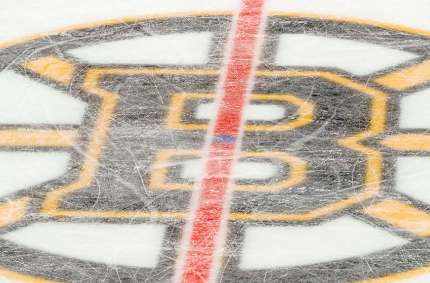 BOSTON, MA - DECEMBER 05: View of Boston Bruins logo at center ice in TD Garden during the Chicago Blackhawks and Boston Bruins NHL game on December 5, 2019, at TD Garden in Boston, MA. (Photo by John Crouch/Icon Sportswire via Getty Images)