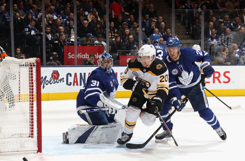 TORONTO, ONTARIO - NOVEMBER 15: Joakim Nordstrom #20 of the Boston Bruins skates against the Toronto Maple Leafs at the Scotiabank Arena on November 15, 2019 in Toronto, Ontario, Canada. (Photo by Bruce Bennett/Getty Images)