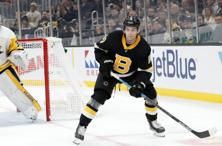 BOSTON, MA - JANUARY 16: Boston Bruins right wing Anders Bjork (10) looks for a pass down low during a game between the Boston Bruins and the Pittsburgh Penguins on January 16, 2020 at TD Garden in Boston, Massachusetts. (Photo by Fred Kfoury III/Icon Sportswire via Getty Images)