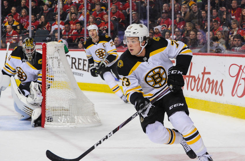 CALGARY, AB - FEBRUARY 21: Charlie McAvoy #73 of the Boston Bruins in action against the Calgary Flames during an NHL game at Scotiabank Saddledome on February 21, 2020 in Calgary, Alberta, Canada. (Photo by Derek Leung/Getty Images)
