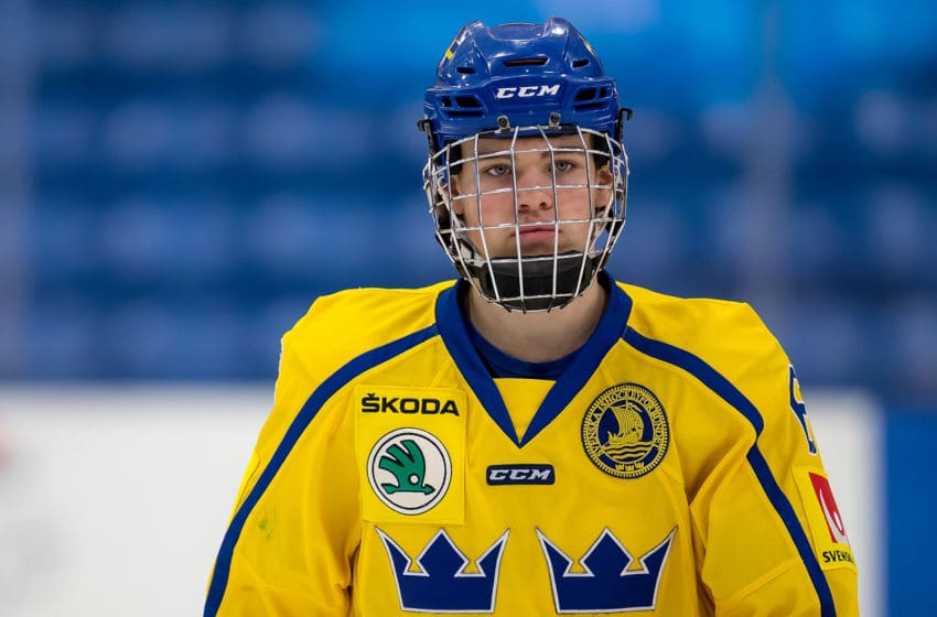 PLYMOUTH, MI - FEBRUARY 15: Axel Andersson #6 of the Sweden Nationals looks down the ice against the Finland Nationals during the 2018 Under-18 Five Nations Tournament game at USA Hockey Arena on February 15, 2018 in Plymouth, Michigan. Finland defeated Sweden 5-3. (Photo by Dave Reginek/Getty Images)*** Local Caption *** Axel Andersson