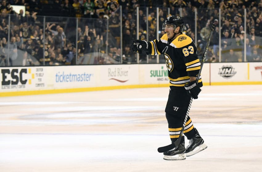 BOSTON, MA - FEBRUARY 13: Brad Marchand #63 of the Boston Bruins celebrates a goal against the Calgary Flames at the TD Garden on February 13, 2018 in Boston, Massachusetts. (Photo by Brian Babineau/NHLI via Getty Images)
