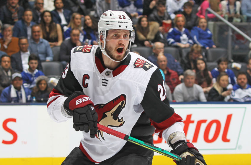 TORONTO, ON - FEBRUARY 11: Oliver Ekman-Larsson #23 of the Arizona Coyotes skates against the Toronto Maple Leafs during an NHL game at Scotiabank Arena on February 11, 2020 in Toronto, Ontario, Canada. The Maple Leafs defeated the Coyotes 3-2 in overtime. (Photo by Claus Andersen/Getty Images)