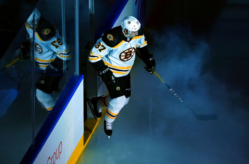 TORONTO, ONTARIO - AUGUST 09: Patrice Bergeron #37 of the Boston Bruins takes the ice prior to Eastern Conference Round Robin game against the Washington Capitals during the 2020 NHL Stanley Cup Playoffs at Scotiabank Arena on August 09, 2020 in Toronto, Ontario, Canada. (Photo by Andre Ringuette/Freestyle Photo/Getty Images)