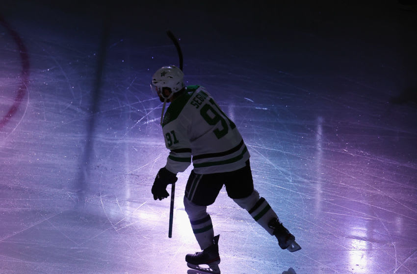 EDMONTON, ALBERTA - SEPTEMBER 21: Tyler Seguin #91 of the Dallas Stars skates out to play against the Tampa Bay Lightning in Game Two of the 2020 NHL Stanley Cup Final at Rogers Place on September 21, 2020 in Edmonton, Alberta, Canada. (Photo by Bruce Bennett/Getty Images)