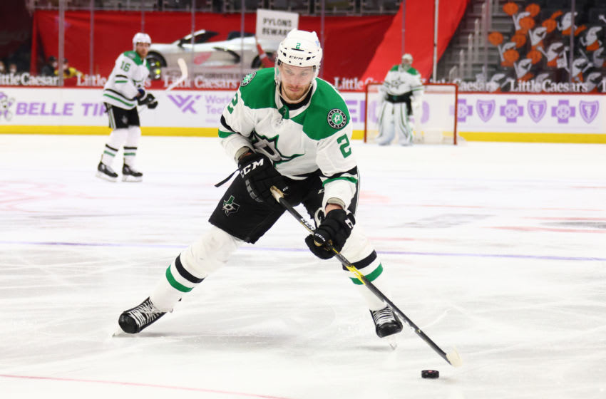 DETROIT, MICHIGAN - APRIL 24: Jamie Oleksiak #2 of the Dallas Stars skates against the Detroit Red Wings at Little Caesars Arena on April 24, 2021 in Detroit, Michigan. (Photo by Gregory Shamus/Getty Images)