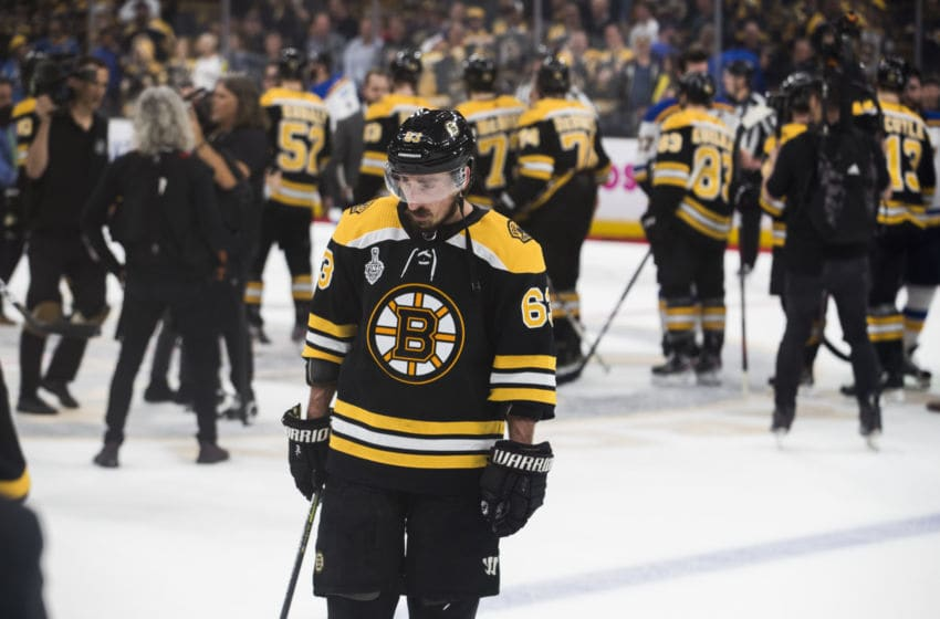 BOSTON - JUNE 12: Boston Bruins' Brad Marchand reacts at end of the Bruins' 4-1 loss. The Boston Bruins host the St. Louis Blues in Game 7 of the 2019 Stanley Cup Finals at TD Garden in Boston on June 12, 2019. (Photo by Stan Grossfeld/The Boston Globe via Getty Images)