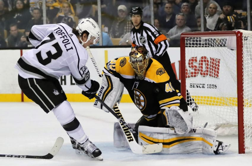 BOSTON, MA - OCTOBER 28: Boston Bruins goalie Tuukka Rask (40) makes a save on Los Angeles Kings right wing Tyler Toffoli (73) during a game between the Boston Bruins and the Los Angeles Kings on October 28, 2016, at TD Garden in Boston, Massachusetts. The Kings defeated the Bruins 2-1 (OT). (Photo by Fred Kfoury III/Icon Sportswire via Getty Images)