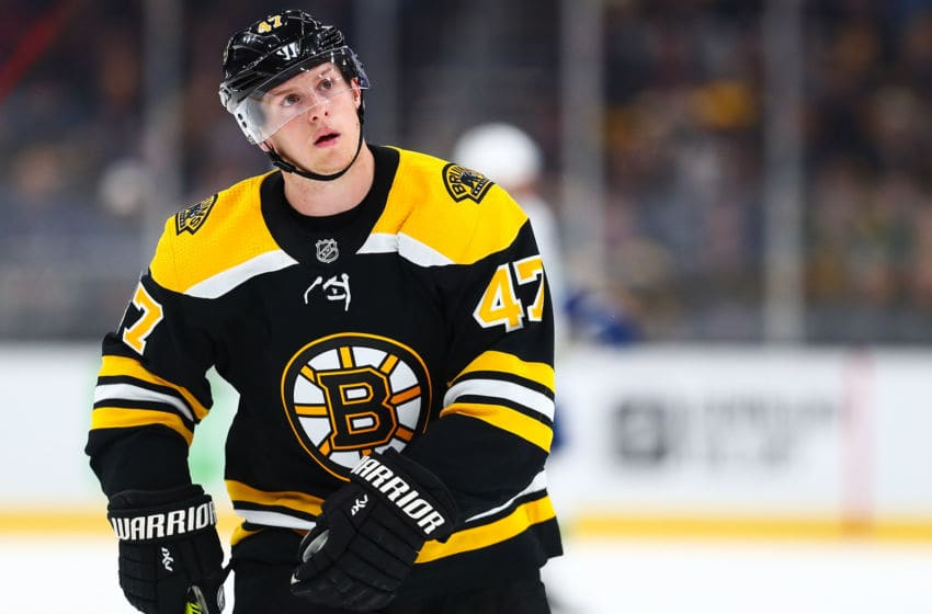 BOSTON, MA - FEBRUARY 04: Torey Krug #47 of the Boston Bruins reacts during a game against the Vancouver Canucks at TD Garden on February 4, 2020 in Boston, Massachusetts. (Photo by Adam Glanzman/Getty Images)