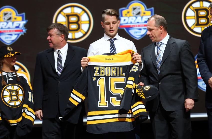 SUNRISE, FL - JUNE 26: Jakub Zboril poses after being selected 13th overall by the Boston Bruins in the first round of the 2015 NHL Draft at BB&T Center on June 26, 2015 in Sunrise, Florida. (Photo by Bruce Bennett/Getty Images)