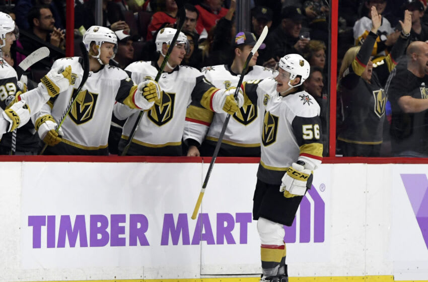 Nov 4, 2017; Ottawa, Ontario, CAN; Vegas Golden Knights forward Erik Haula (56) reacts with teammates after scoring a goal against the Ottawa Senators during the second period at Canadian Tire Centre. Mandatory Credit: Eric Bolte-USA TODAY Sports