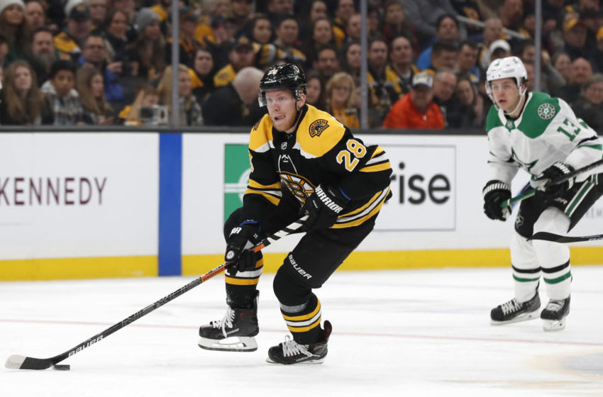 Feb 27, 2020; Boston, Massachusetts, USA; Newly acquired Boston Bruins right wing Ondrej Kase (28) skates the puck against the Dallas Stars during the first period at TD Garden. Mandatory Credit: Winslow Townson-USA TODAY Sports