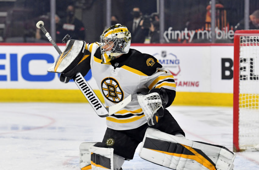 Apr 6, 2021; Philadelphia, Pennsylvania, USA; Boston Bruins goaltender Jeremy Swayman (1) makes a save against the Philadelphia Flyers during the first period at Wells Fargo Center. Mandatory Credit: Eric Hartline-USA TODAY Sports