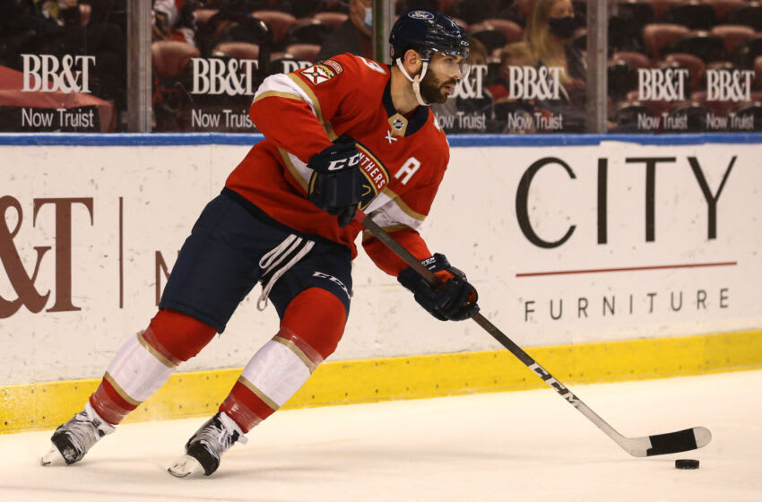 Apr 20, 2021; Sunrise, Florida, USA; Florida Panthers defenseman Keith Yandle (3) skates with the puck against the Columbus Blue Jackets during the first period at BB&T Center. Mandatory Credit: Sam Navarro-USA TODAY Sports
