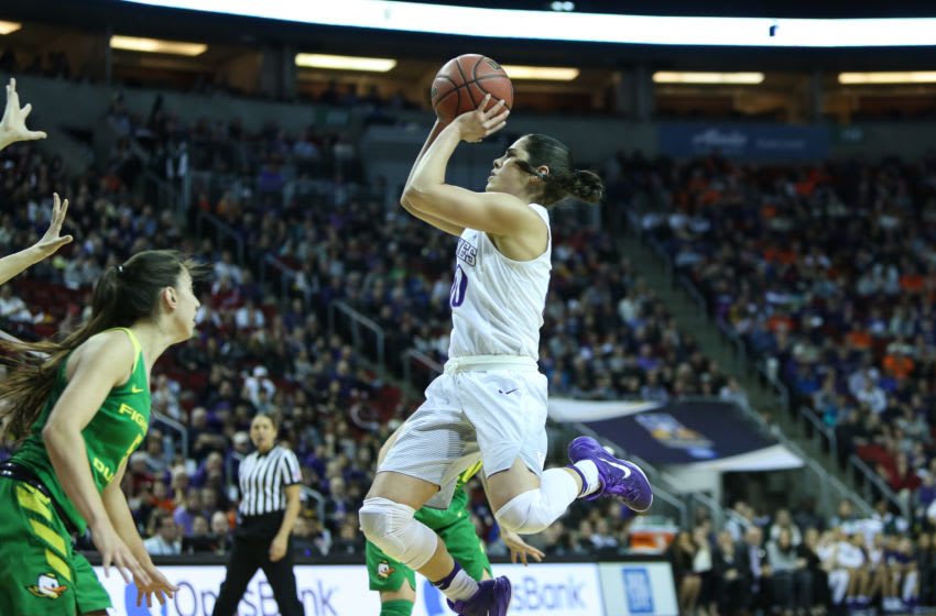 SEATTLE, WA - MARCH 03: Washington Huskies Kelsey Plum pulls up for a jumper during the women's Pac 12 college tournament game between the Washington Huskies and the Oregon Ducks on March 3rd, 2017, at the Key Arena in Seattle, WA. (Photo by Aric Becker/Icon Sportswire via Getty Images)