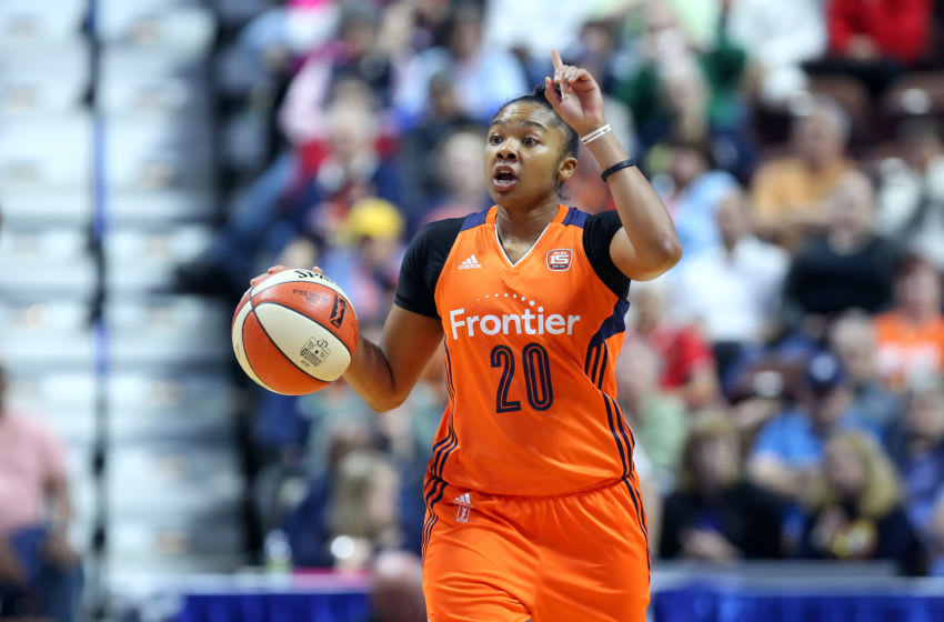 UNCASVILLE, CT - MAY 26: Connecticut Sun guard Alex Bentley (20) calls a play during the first half of an WNBA game between Minnesota Lynx and Connecticut Sun on May 26, 2017, at Mohegan Sun Arena in Uncasville, CT. Minnesota defeated Connecticut 82-68. (Photo by M. Anthony Nesmith/Icon Sportswire via Getty Images)
