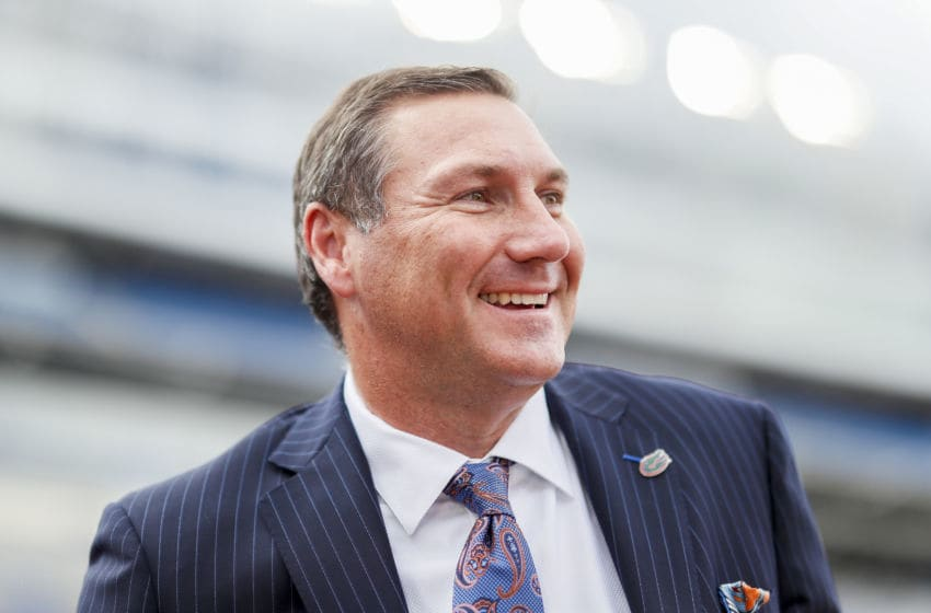 GAINESVILLE, FLORIDA - OCTOBER 05: Head coach Dan Mullen of the Florida Gators looks on before the start of a game against the Auburn Tigers at Ben Hill Griffin Stadium on October 05, 2019 in Gainesville, Florida. (Photo by James Gilbert/Getty Images)