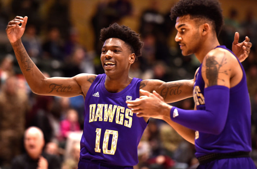 ANCHORAGE, AK - NOVEMBER 08: Elijah Hardy #10 of the Washington Huskies reacts in the first half against the Baylor Bears during the ESPN Armed Forces Classic at Alaska Airlines Center on November 8, 2019 in Anchorage, Alaska. (Photo by Lance King/Getty Images)