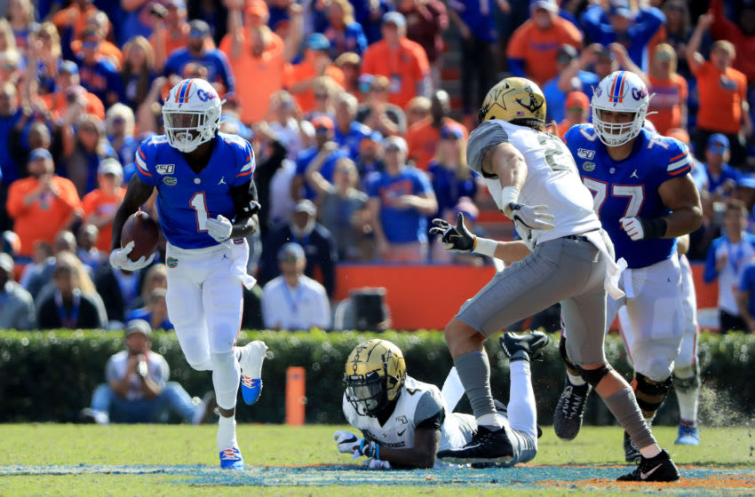 GAINESVILLE, FLORIDA - NOVEMBER 09: CJ Henderson #1 of the Florida Gators runs for yardage during the game against the Vanderbilt Commodores at Ben Hill Griffin Stadium on November 09, 2019 in Gainesville, Florida. (Photo by Sam Greenwood/Getty Images)