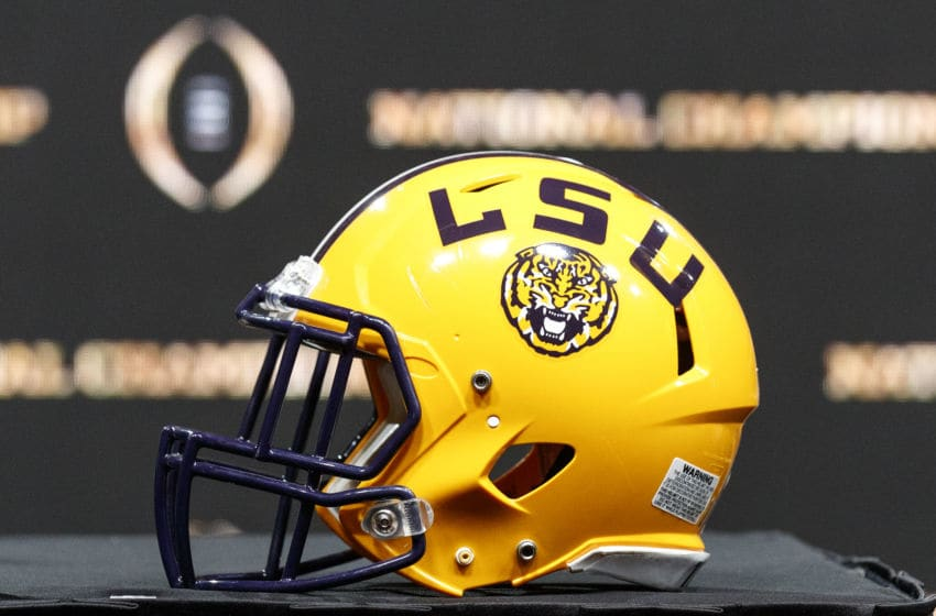 NEW ORLEANS, LOUISIANA - JANUARY 12: A general view of LSU Tigers helmet before the Head Coaches Press Conference before the College Football Playoff National Championship at the Grand Ballroom at the Sheraton Hotel on January 12, 2020 in New Orleans, Louisiana. (Photo by Don Juan Moore/Getty Images)